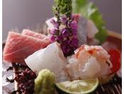 新鮮な魚介類を使用したお造り