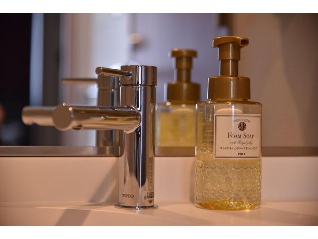 POLAのシャワーブレイク ハンドソープ手洗いに、洗顔に、シェービングにも使えます。