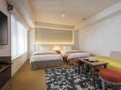 【はなれ】デラックスツインルーム: 32平米 / ベッド幅120cm×2台 / 洗濯乾燥機・電子レンジ完備 / ミニキッチン付き / 全室禁煙