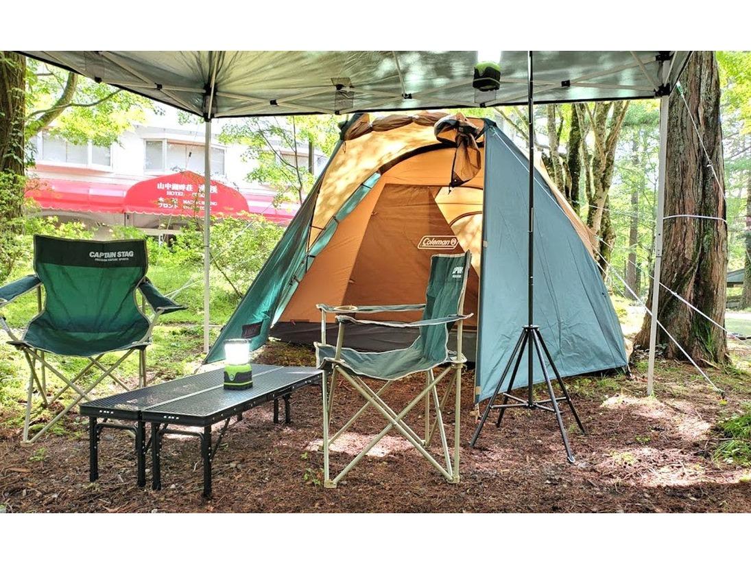 野外テントでテント泊♪テント設営はスタッフが行いますので、手ぶらでOK!荒天時は