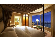 【ラグジュアリーフロア】最上階34階 インターナショナルスイート ベッドルーム ※画像はイメージです ●広さ:110平米 ●ベッド:幅207cm × 長さ205cm 2台