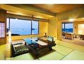 貴賓室12.5畳の和室と6畳の和室、53平米のリビングとジャグジー付きお風呂、合計127平米のお部屋。海の蝶の中で、最も広い客室です。 室内の調度品、伊勢湾を見渡せる景色、そしてジャグジーバス、どれをとっても最高級。 洗礼された雰囲気を楽しめます。