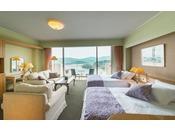 最上階にある特別フロア「華真珠」にある、6畳の和室・ツインベッドの洋室・バルコニーがついた合計61平米のお部屋です。
