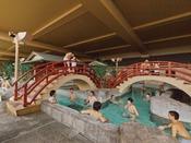 *【龍宮の湯:展望大浴場 内湯】プールのように楽しめる大浴場「千寿の湯」。