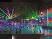 *【アクアパーク「レーザーショー」(一例)】光と音の幻想的なレーザーが踊るショーをお楽しみください。