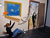 *【お祭りランド:トリックアート「夢」】リアル感いっぱいの動物に襲われる!