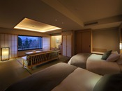 2019年4月にリニューアルされた当館に4部屋のみの高層階(6F)露天風呂付和洋室。シモンズ社製のベッドを採用し、雪の館に名にちなみ雪をテーマにゆっくりと寛げる和洋室(※蔵王側指定は別料金)