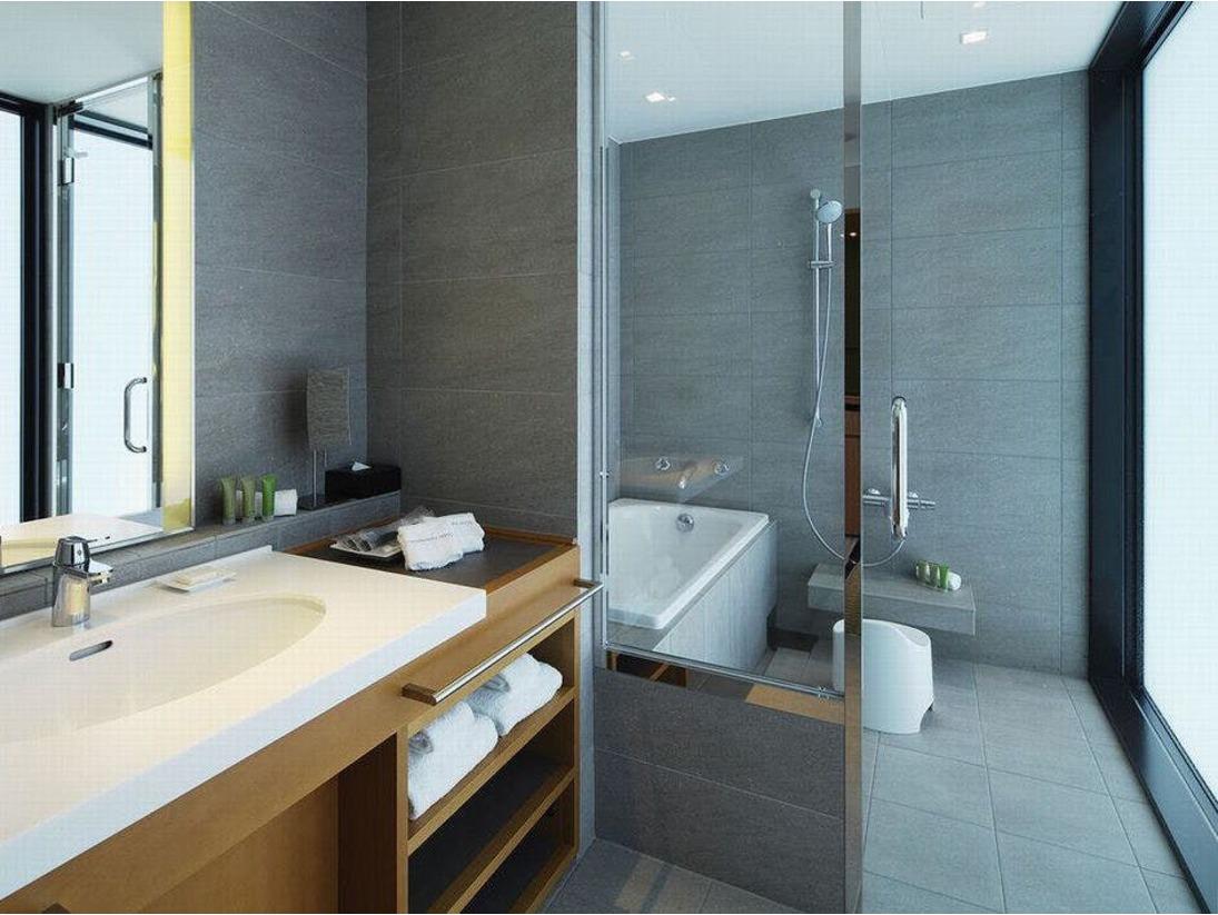【浴室】(日本平ツイン)和をイメージした洗い場つきお風呂洗う・浸かると分けられた、広く開放的な浴室空間