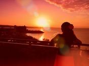 夕陽に染まるカフーリゾート