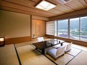 【錦川側◆和洋室 8~12.5畳+ツイン】[和室] 「お休みはベッドで」という方にお薦めの和洋室。