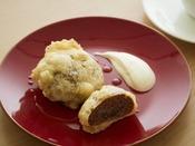 朝食のおすすめメニュー。まんじゅうを天ぷらにするのは会津ならではです。