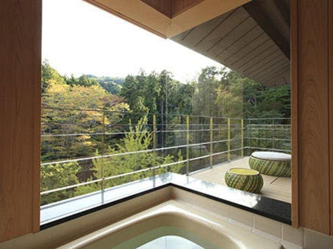 展望風呂テラス付客室、展望風呂からの眺め。プライベート空間です。