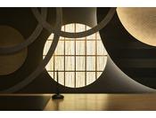 茶道の心をイメージした「円」と、一期一会の「縁」が結び合う装飾。