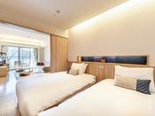47.3平米のデラックスルームです。寝室とリビングの和の空間が分かれており、最大5名様までご利用いただけるお部屋です。