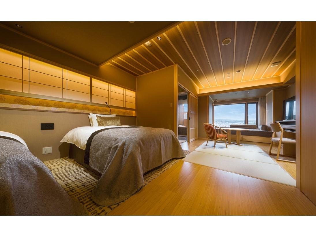 燦里(さんり)富士山眺望の露天風呂付プレミアム和モダンベッドルーム(42平米)/安眠のおもてなし「シモンズベッド」を採用