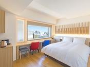 【客室】プレミアクイーン/22平米/白木を基調とした高層階のお部屋です。