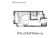 デラックスダブル間取り図/26平米/ベッド幅168cm