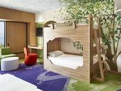 【ファミリハッピーマジックルーム】二段ベッド常設で、最大6名様までご宿泊OK!ファミリーやグループ旅行にもおススメです。