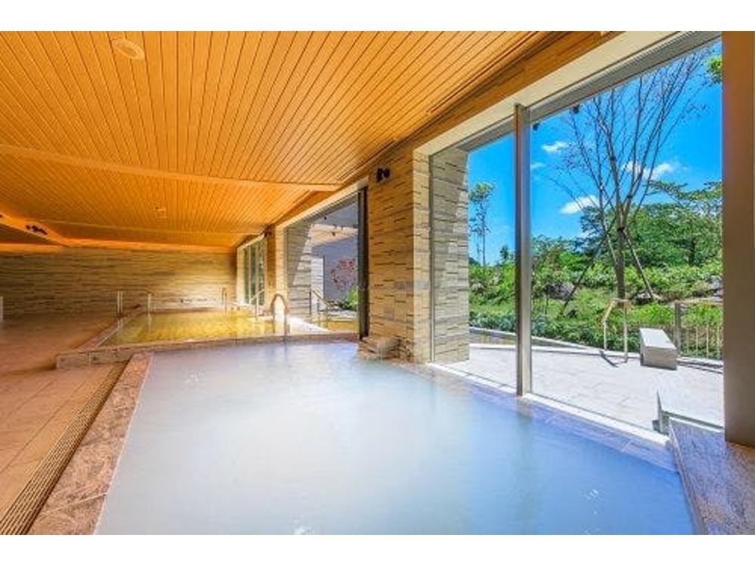 大浴場の浴槽のひとつ、微粒子の細かい泡により乳白色になるシルキー湯。