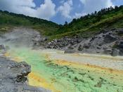 【玉川温泉自然研究路】源泉が湯の川となって流れています。