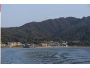 フェリーからの景色。宮島口ターミナルから10分で宮島到着です。