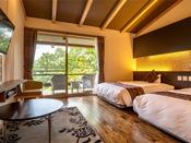 2名様限定/露天付特別室-オトナが寛ぐ上質の空間-【こごみ】の寝室。広々としたツインベッド