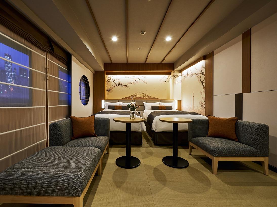 【UTSUKI~空木~】「東京スカイツリー」、「桜」、「富士山」をデザインのモチーフに。和テイストで落ち着きのあるたった一つの空間に仕上げました。■英国スランバーランド社製ベッド幅120cm×2台■角部屋■広さ33平米■43型液晶TV(壁掛け)