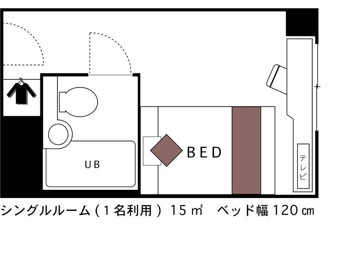 シングルルーム 広さ15平米 間取り図