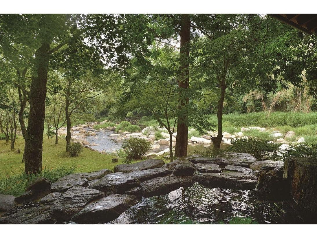 手を伸ばせばすぐ届く所に森と川を臨める「感動露天風呂」は、大自然との対話を楽しんで頂けます。