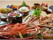 タグ付き生松葉蟹1人1枚使用、茹で蟹と蟹スキ鍋をシェア&造り・鳥取和牛付会席(11~2月冬季)