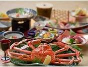 二人に1枚の活松葉蟹付き和会席膳(11~2月冬季)