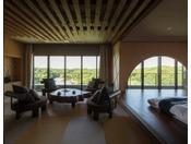 【特別室 うんかん(禁煙)】最上階12階に位置し自然豊かな公園が一望。風情溢れる景色をお楽しみいただけます
