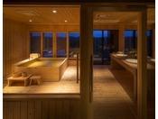 【特別室 うんかん(禁煙)】2名様でもゆったり入れるヒバの浴槽を配し、窓から見える景色を眺めることができます