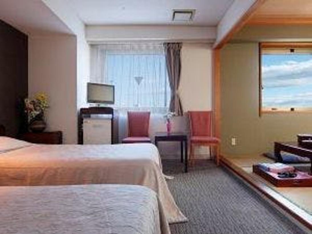 和室6畳 + ツインベッド の スタンダードタイプ< 37平米/バス・トイレ付 >