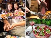 ライブキッチンでは、焼き立てのシュラスコや料理人がその場で握るお寿司!天婦羅なども!