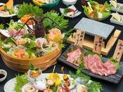 期間限定!海鮮桶盛りと飛騨牛サーロインを含む和牛味比べ会席(造り、肉は2名様盛り)
