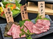 飛騨牛二種と上質な和牛タンの石焼でじんわりと焼き上げて食べ比べ(2名様盛り)
