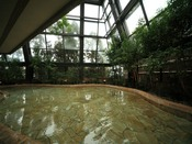 【四季の湯】開放的な吹き抜け。天窓と壁面がガラス張りで半露天