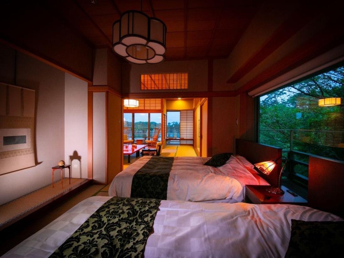ベッド付2間タイプのお部屋老松はご家族様でのご利用にも喜ばれております。