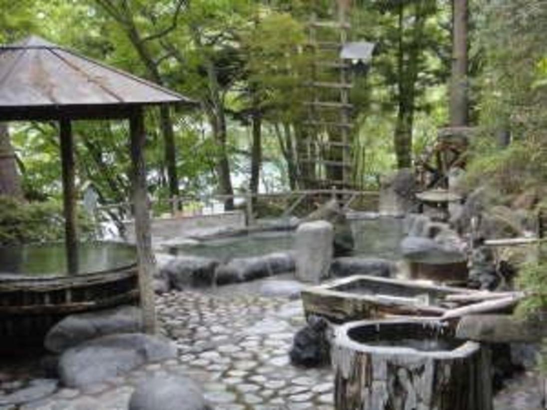 【混浴露天風呂/全景】1日30万リットルの湯量が湧き出る、源泉かけ流しの温泉が自慢です※イメージ