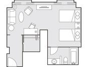 デラックスツイン43平米 見取図 一例