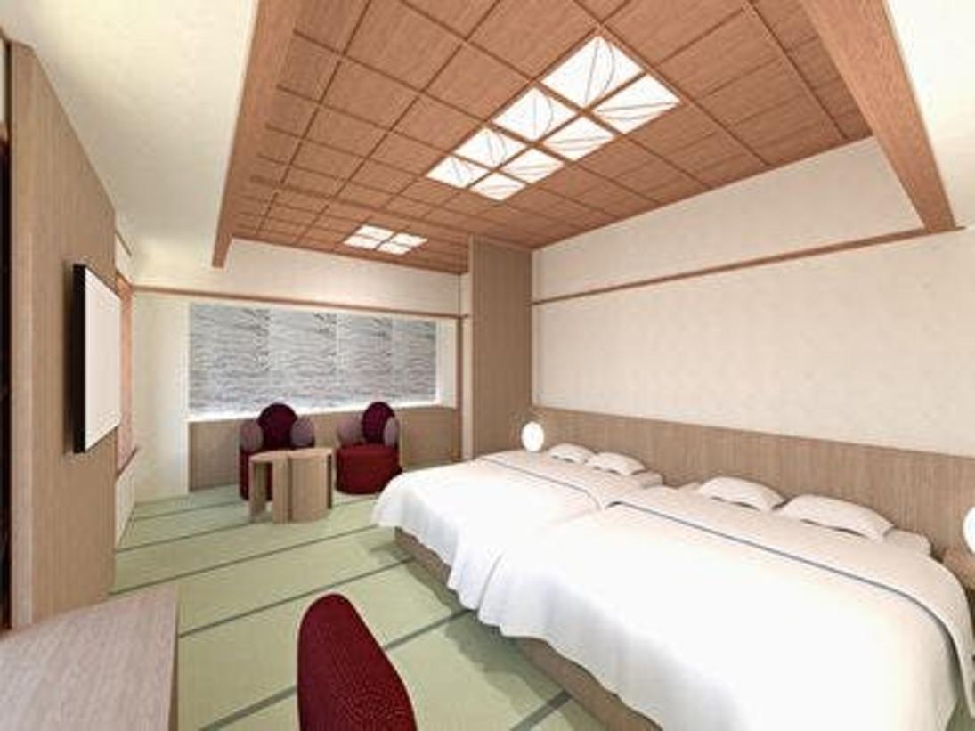 2020年4月リニューアルオープンぶどうカラーを使用し、山梨らしさを表現したお部屋51平米の空間に和の情緒を感じる畳敷きのリビングスペースと、ダブルサイズのベッド2台を配した贅沢空間。