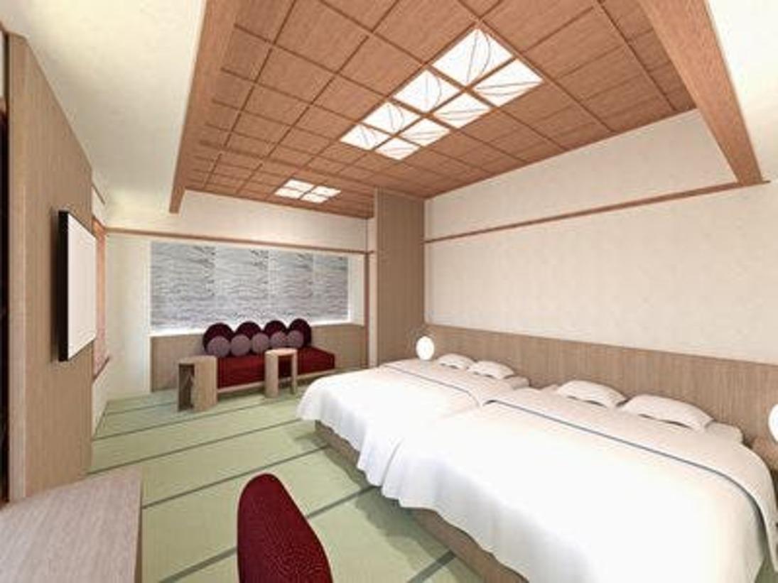 2020年4月リニューアルオープンぶどうカラーを使用し、山梨らしさを表現したお部屋51平米の空間に和の情緒を感じる畳敷きのリビングスペースと、ダブルベッドを2台配した贅沢空間。ソファをベッドに最大3名様までご利用いただけるスタイルとなります。