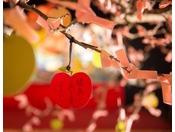 【ヨッテマレ花見まつり(春)】りんご絵馬もご用意。ねがいを書いてりんごの木に結び付けて。