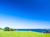 景勝地『種差海岸』へは約122km。美しい芝生が波打ち際まで広がっている様子は、まるで異国のよう。