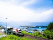 『北三陸鉄道(北鉄)袖が浜駅(三陸鉄道堀内駅)』へは約50km。とても景色がきれいな場所です。