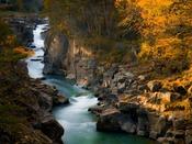 『厳美渓』へは約181km。エメラルドグリーンの水流にダイナミックな景観、川岸を彩る四季も美しい。
