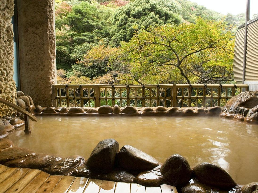 月光園ならではの絶景と自家泉源の赤湯の両方をお楽しみください。