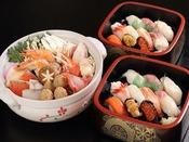 【お部屋で夕食3】はこだて鮨金総本店 「特上にぎり&寄せ鍋」(冬季限定)
