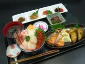 【選べる朝食2】朝市提携6店舗にて海鮮丼or和定食(メニュー 一例)